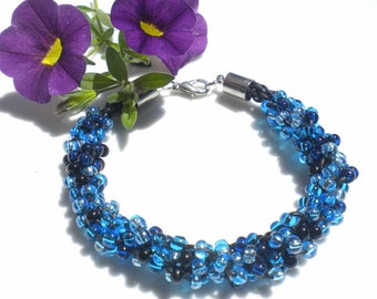 Kumihimo Bracelet Beaded Bracelet Braided Myuki Seed Beads Blue & Black