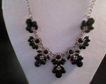 Black Crystal and Clear Rhinestone Pendants Necklace on a Dule Silver Chain