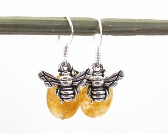 Earrings-golden aventurine -honey bee charm-silver plate fishhook earring-everyday jewelry-Wild nature-Gift for her-delicate earthy