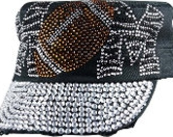 Bling Black Football Rhinestone hat