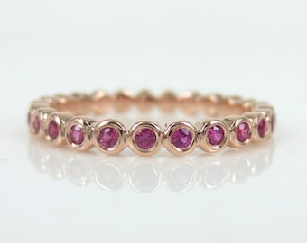 2.2mm Half-set Bezel Set Round Ruby Eternity Band in 18k Rose Gold - Stacking Rings