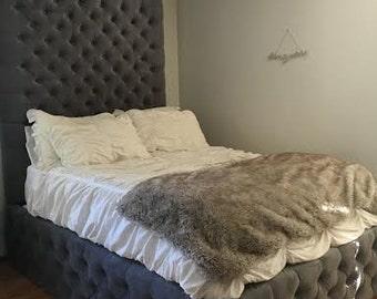 Velvet Diamond Tufted Headboard And Tufted Bed Frame Set  King, Extra Tall