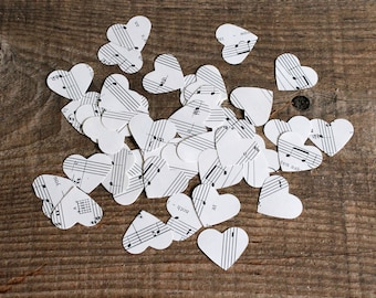 confetti party wedding decor - 500 paper hearts music notes sheet music wedding centerpiece