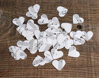 confetti party wedding decor - 500 paper hearts music notes sheet music wedding centerpiece