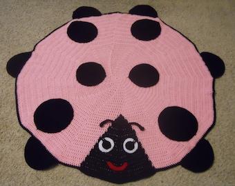 New Handmade Pink & Black Ladybug Lady Bug Baby Girl Afghan Blanket or Rug