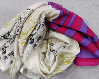 Square Scarf Rayon Scarf Indian Scarf Cream Scarf Purple Pink Stripes