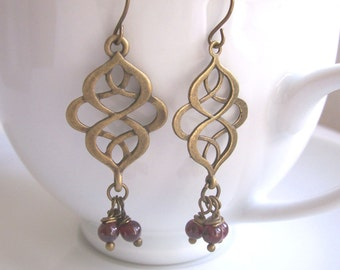 Garnet Earrings with Golden Swirls - precious stones - gem cluster - gift for January birthday - nickel free
