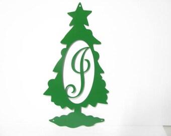 Christmas Tree Initial Metal Door Hanger