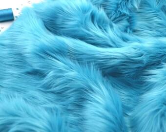 "Turqouoise faux fur 2"" pile, turquoise fur, turqouoise fur fabric craft squares, turqouoise fursuit fur, turqouoise shag fur, turquoise fur"