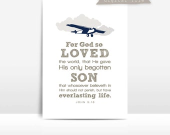 JOHN 3:16 Airplane print {God So Loved the World}