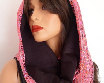 festival hood, pink sequin snood, pink sequin scarf, hologram snood, festival clothing