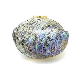 Blue / Aqua / Teal / Silver / Cream Paua Shell Minaudiere / Evening Bag - Free Shipping