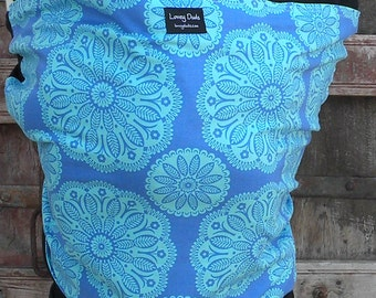 ORGANIC COTTON Baby Wrap Baby Sling Carrier-Blue Bandana on Black -Newborn through Toddler- DvD Included