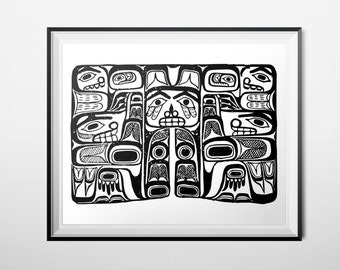 Native Print, 16x20 Poster INSTANT DOWNLOAD, Haida Tribal Printable Art, Tribal Faces, Black & White Decor, Totem Animal Pacific Northwest