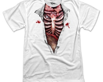 S - 3XL > Rotten Flesh, Bloody Zombie, Ripped Chest > Halloween T-shirt