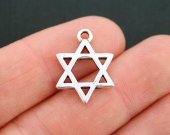 5 Star of David Charms Antique Silver Tone 2 Sided - SC2373