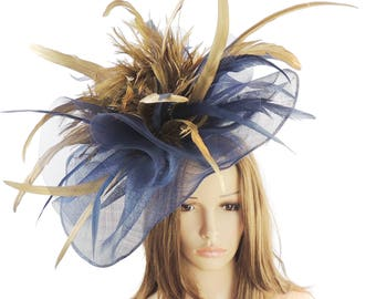Navy & Gold Susan Fascinator Hat for Weddings, Kentucky Derby With Headband (20 Colours Avail)