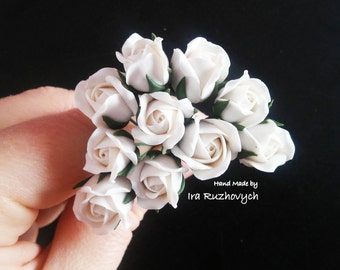 10 pcs. white roses, polymer clay flower bead