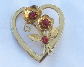 Art Deco, Coro Brooch Red Rhinestone Heart Flower Brooch 1940s  Vintage Jewelry, SALE