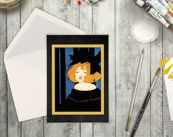 Toulouse-Lautrec Like Card Digital Collage. High Resolution Film Noir Burlesque Girl with Big Black Bow. Clip Art Blank Card Any Occassion.