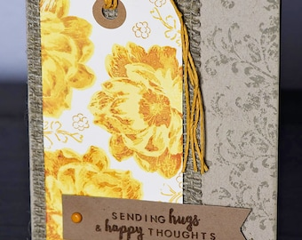Hand Stamped Encouragement Card, Sending Happy Thoughts, Vintage Flower Card, Burlap, Yellow & Gold, Kraft