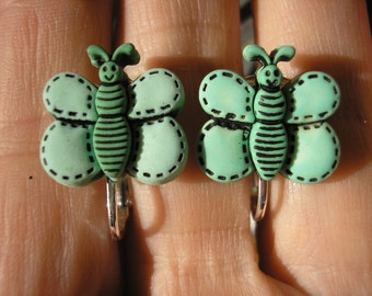 Play Earring - Clip - Butterfly - Turquoise - 3/4""
