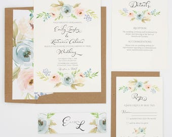 Rustic Wedding Invitations - Dusty Blue & Blush Floral Wedding Invitation Suite - Dusty Blue and Blush Blooms Collection Sample Set