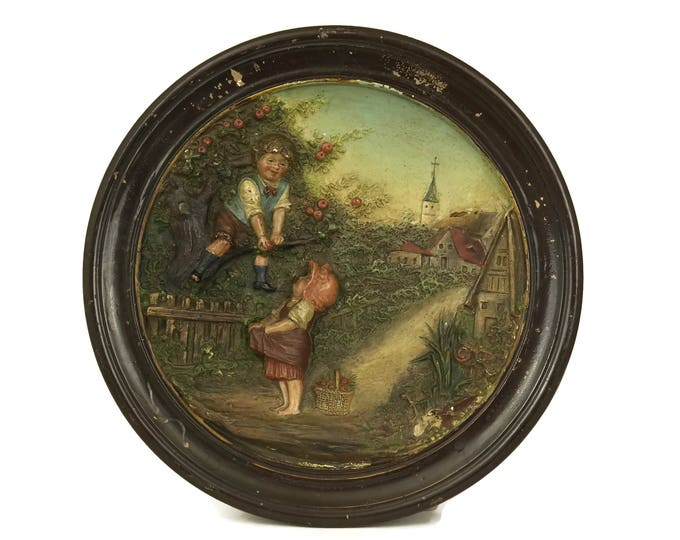Bernhard Bloch Terracotta Plate with Children Picking Apples. Stamped BB. Antique Wall Decor. 3D Relief Molded Pottery Hanging Plaque.
