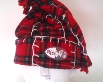 Quirky Tartan Fleece Hat with Blanket Stitch Detail Double Fleece