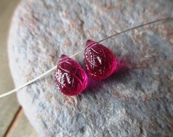 Hot pink carved quartz drop briolette- 8x12mm- matched pair