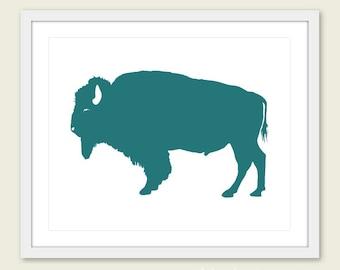 Buffalo Art Print - Buffalo Wall Art - Modern Buffalo Art - Rustic Buffalo Print - Dark Teal Art - Buffalo Poster - Aldari Art