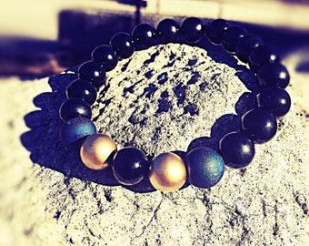 Mens black band blue and gold accent bracelet