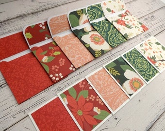 Mini Note Cards, Mini Note Card Set, 3x3 Cards, Christmas Cards, Mini Christmas Cards, Set of 6 Mini Note Cards with Envelopes, Winterberry