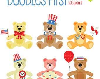 4th Of July Teddy Bears Clip Art for Scrapbooking Card Making Cupcake Toppers Paper Crafts