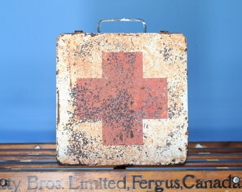 Vintage Red Cross First Aid Box - Metal Box - Crusty