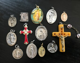 Vintage Lot of 13 Religious Items, Red Enamel Cross, Gold Bakelite Cross, St Benedict, St Jude, Lady Fatima, St Anthony, Miraculous Medal