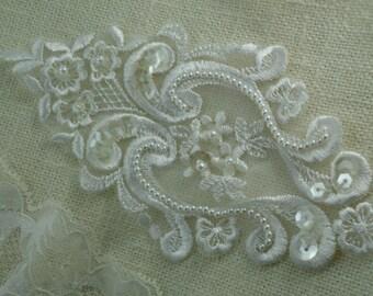 Venice Lace White Appliqué with little Pearls Sequins wedding lace sash appliqué headband veil costume Embellishment Patch Raw White