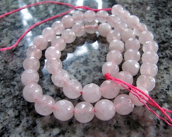 8mm JADE Beads in Palest Pink, Faceted, Stone Beads, Round, Full Strand, 48 Pcs, Semi Translucent Gemstones, Candy Jade