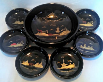 Vintage Black Lacquer Salad Bowl Set, Unmarked,Japanese, Rice Bowl Set, Large Serving Bowl with 6 Small Bowls, Mid Century, Circa 1960s
