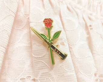 "Rose and Switchblade 1.5"" Enamel Lapel Pin"
