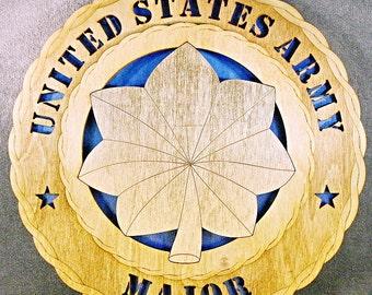 "Custom 12"" Wood US Army Major Rank Wall Tribute - FREE SHIPPING"