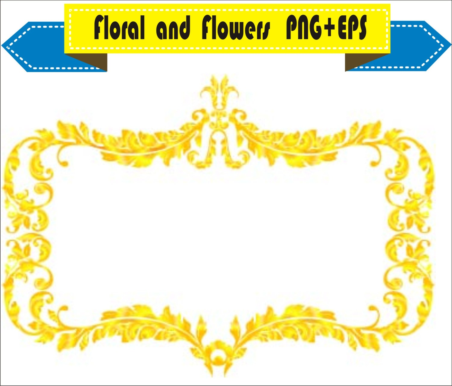 royal gold frame floral vector clipart png eps digital files rh etsy com royal clipart black and white royal clipart free