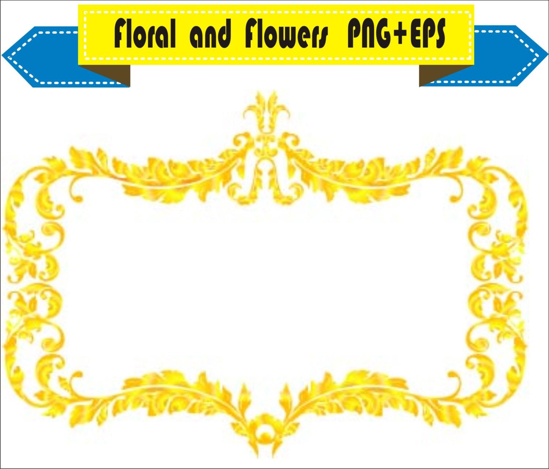 Royal Gold Frame Floral Vector Clipart PNG EPS Digital Files