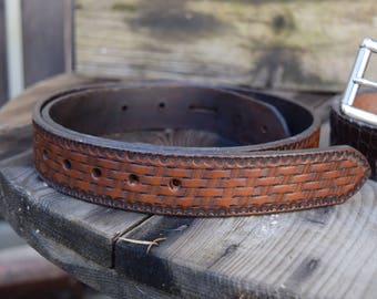 Custom Tooled Belt Basket Weave/ Leather Belt/ Mens Belt