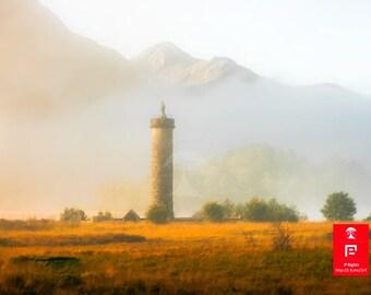 Outlander scottish highlands, monument, travel adventure art, foggy print, highland art, scottish gifts, scotland travel print, sunrise