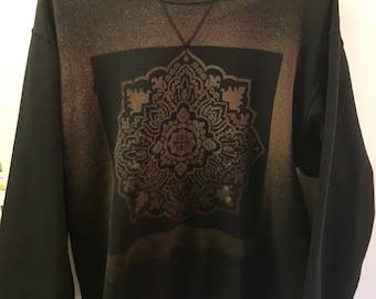 Black bleach dyed sweatshirt.