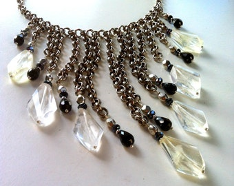 Crystal Bib, Chain Bib Statement Necklace, Quartz Bib Necklace, Clear Quartz Crystal Necklace, Rock Quartz Gemstone, Crystal Statement Bib