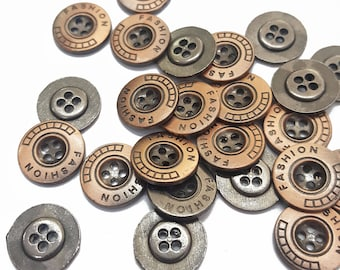 Round Metal Cover Sewing Buttons, Copper 4 Holes Sewing Buttons, Gun Metal Fashion Buttons for Sewing