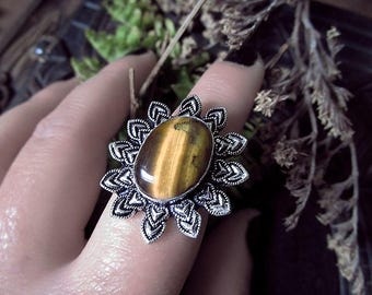 Sun Silver Ring, Tiger Eye Ring, Witchy Ring, Protection Ring, Tiger Eye Sun, Star Ring