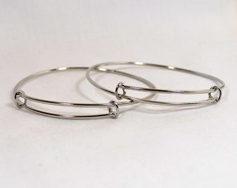 Adjustable Bangle Bracelets - Rhodium - Choose Your Quantity